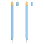 2 Sets 5 In 1 Stylus Silicone Protective Cover + Two-Color Pen Cap + 2 Nib Cases Set For Apple Pencil 2 (Blue)