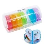 One Week Use 14-compartment Mini Round Pill Box Travel Moisture-proof Portable Split Pill Box(Transparent Color)