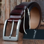 COWATHER XF004 Men Two-Layer Cowhide Business Casual Pin Buckle Belt,Length:, Length (cm): 130cm(Silver Buckle Coffee Color)