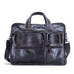 9913 Casual Men Singer-shoulder Messenger Briefcase 15.6 Inch Business Handbag(Green Oil)
