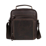 6479 Men Casual Large-Capacity One-Shoulder Messenger Leather Bag(Crazy Horse Texture Brown)