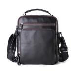 6479 Men Casual Large-Capacity One-Shoulder Messenger Leather Bag(Napa Texture Black)