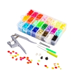 Colorful Plastic Resin Children Clothes Button Hand Pressure Pliers Installation Tool, Specification: 24 Color 240 Sets T5 Snap Button+Tool