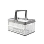 2 PCS Foldable Hand-Plastic Storage Basket Multi-Function Desktop Snack Basket Carry On-Board Storage Basket(White)