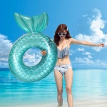 Adult Thickened Backrest Swimming Ring Mermaid Swim Ring(Blue)