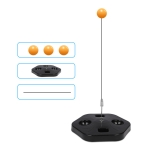 Single Table Tennis Trainer Elastic Flexible Shaft Fixed Ball Training Device, Specification: Black Without Racket