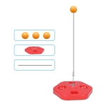 Single Table Tennis Trainer Elastic Flexible Shaft Fixed Ball Training Device, Specification: Red Without Racket