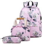 1909-1 3 PCS/Set Printed Backpack Small Fresh Student School Bag Computer Bag Lunch Backpack(Pink)