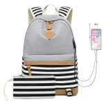 2 PCS/Set Printed Canvas Backpack Student School Bag Striped Large Capacity Backpack(Grey)