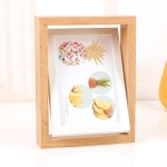 Wooden Rotating Double-Sided Swinging Table Photo Frame Size: 6 inch(Log + White)