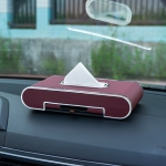 Car Dashboard Diamond Paper Towel Box with Temporary Parking Phone Number Card & Phone Holder (Wine Red)