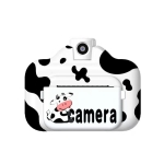 Multi-function Milk Cow WiFi Printing Camera with 2.4 inch Screen for Kids (Black)