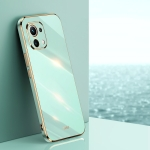 For Xiaomi Mi 11 Lite XINLI Straight 6D Plating Gold Edge TPU Shockproof Case(Mint Green)