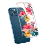 High Translucent Electroplating Flower Pattern TPU + PC Shockproof Case For iPhone 12 mini(Hibiscus)