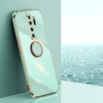 For Xiaomi Redmi Note 8 Pro XINLI Straight 6D Plating Gold Edge TPU Shockproof Case with Ring Holder(Mint Green)
