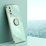 For Xiaomi Redmi Note 9 4G XINLI Straight 6D Plating Gold Edge TPU Shockproof Case with Ring Holder(Mint Green)