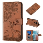 For Xiaomi Redmi Note 9 Sika Deer Embossing Pattern Horizontal Flip PU Leather Case with Holder & Card Slot & Wallet & Photo Frame(Brown)