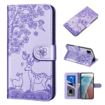 For Samsung Galaxy A22 5G Sika Deer Embossing Pattern Horizontal Flip PU Leather Case with Holder & Card Slot & Wallet & Photo Frame(Purple)