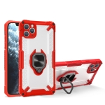 Matte TPU + PC Magnetic Shockproof Case with Ring Holder For iPhone 13(Red)