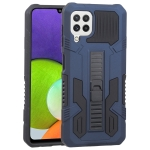 For Samsung Galaxy A22 4G Vanguard Warrior All Inclusive Double-color Shockproof TPU + PC Protective Case with Holder(Cobalt Blue)