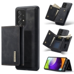 For Samsung Galaxy A52 5G / 4G DG.MING M1 Series 3-Fold Multi Card Wallet + Magnetic Back Cover Shockproof Case with Holder Function(Black)
