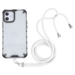 Shockproof Honeycomb PC + TPU Case with Neck Lanyard For iPhone 12 / 12 Pro(White)