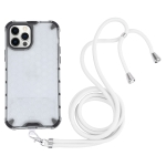 Shockproof Honeycomb PC + TPU Case with Neck Lanyard For iPhone 12 Pro Max(White)