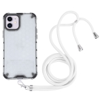 Shockproof Honeycomb PC + TPU Case with Neck Lanyard For iPhone 11(White)