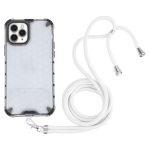 Shockproof Honeycomb PC + TPU Case with Neck Lanyard For iPhone 11 Pro Max(White)