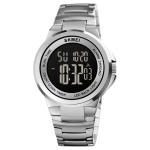 SKMEI 1712 Dual Time LED Digital Display Luminous Stainless Steel Strap Electronic Watch(Silver and Black)