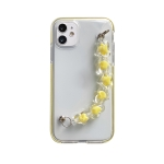 Dual-color PC+TPU Shockproof Case with Heart Beads Wrist Bracelet Chain For iPhone 11 Pro Max(Yellow)