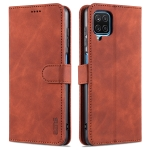 For Samsung Galaxy M62 / F62 AZNS Skin Feel Calf Texture Horizontal Flip Leather Case with Card Slots & Holder & Wallet(Brown)