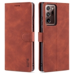 For Samsung Galaxy Note20 AZNS Skin Feel Calf Texture Horizontal Flip Leather Case with Card Slots & Holder & Wallet(Brown)