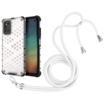 For Samsung Galaxy F52 5G Shockproof Honeycomb PC + TPU Case with Neck Lanyard(White)