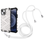 Shockproof Honeycomb PC + TPU Case with Neck Lanyard For iPhone 13 mini(White)