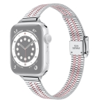 14mm Seven-beads Double Safety Buckle Slim Steel Replacement Strap Watchband For Apple Watch Series 6 & SE & 5 & 4 40mm / 3 & 2 & 1 38mm(Silver Pink)