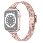 14mm Seven-beads Double Safety Buckle Slim Steel Replacement Strap Watchband For Apple Watch Series 6 & SE & 5 & 4 44mm / 3 & 2 & 1 42mm(Pink Gold)