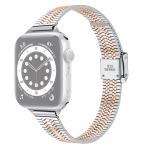 14mm Seven-beads Double Safety Buckle Slim Steel Replacement Strap Watchband For Apple Watch Series 6 & SE & 5 & 4 44mm / 3 & 2 & 1 42mm(Silver Gold)