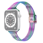 14mm Seven-beads Double Safety Buckle Slim Steel Replacement Strap Watchband For Apple Watch Series 6 & SE & 5 & 4 44mm / 3 & 2 & 1 42mm(Colorful)
