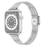 14mm Seven-beads Double Safety Buckle Slim Steel Replacement Strap Watchband For Apple Watch Series 6 & SE & 5 & 4 44mm / 3 & 2 & 1 42mm(Silver)