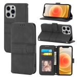 Embossed Striped Magnetic Buckle PU + TPU Horizontal Flip Leather Case with Holder & Card Slot & Wallet & Photo Frame & Sling For iPhone 12 Pro Max(Black)
