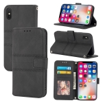 Embossed Striped Magnetic Buckle PU + TPU Horizontal Flip Leather Case with Holder & Card Slot & Wallet & Photo Frame & Sling For iPhone XS Max(Black)