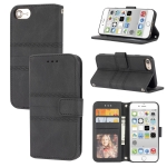 Embossed Striped Magnetic Buckle PU + TPU Horizontal Flip Leather Case with Holder & Card Slot & Wallet & Photo Frame & Sling For iPhone 8 / 7 / 6(Black)