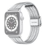 Seven-beads Double Safety Buckle Steel Replacement Strap Watchband For Apple Watch Series 6 & SE & 5 & 4 44mm / 3 & 2 & 1 42mm(Silver)