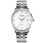 SKMEI 1801 Men Casual Calendar Quartz Watch(Silver Steel Belt)