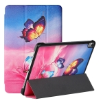 Silk Texture Colored Drawing Pattern Horizontal Flip Magnetic PU Leather Case with Three-folding Holder & Sleep / Wake-up Function For iPad Air 10.9 2020(Galaxy Butterfly)