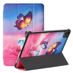 Silk Texture Colored Drawing Pattern Horizontal Flip Magnetic PU Leather Case with Three-folding Holder & Sleep / Wake-up Function For iPad Pro 11 2021 / 2020 / 2018(Galaxy Butterfly)