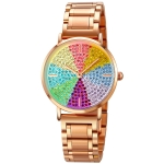 SKMEI 1811 Eight Color Diamond Round Dial Quartz Watch for Ladies(Rose Gold Steel Belt)