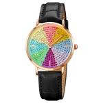 SKMEI 1811 Eight Color Diamond Round Dial Quartz Watch for Ladies(Black Leather Belt)