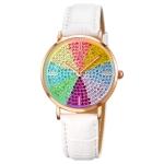 SKMEI 1811 Eight Color Diamond Round Dial Quartz Watch for Ladies(White Leather Belt)